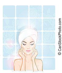 Spa, beautiful woman, bathroom