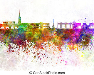 Bordeaux skyline in watercolor background