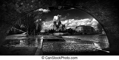 Notre Dame Paris,view from under the bridge,black and white