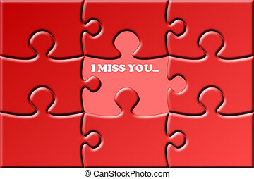 I Miss You - illustration of a red puzzle with a missing...