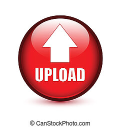 Upload text with arrow up on red button - Upload text with...