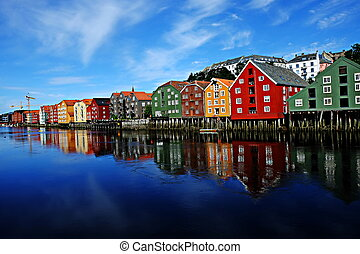 Trondheim, Norway - Beautiful river side view of wooden...