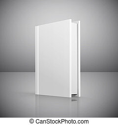 Blank book cover over grey background illustration