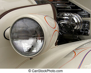 Vintage Lighting - Headlamp on antique 1937 Chevy Coupe with...