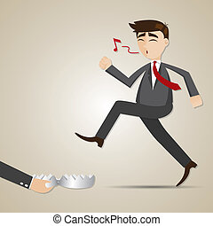 cartoon businessman with entrapment - illustration of...