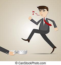 caricatura, hombre de negocios, trampa