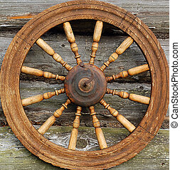 closeup, mão, girar, roda