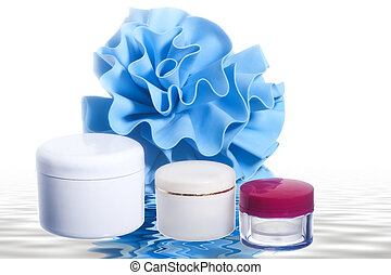 products for body care on white background