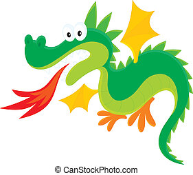 Dragon - fire-breathing dragon, on a white background