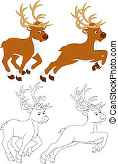 Reindeer running, color and black and white illustrations on...