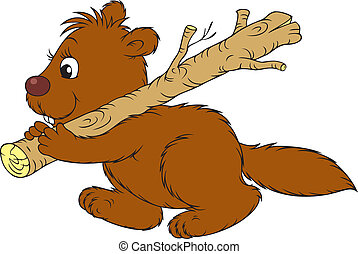 Beaver - brown beaver carrying a branch