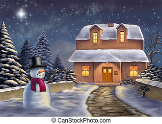 Christmas landscape at night Original digital illustration