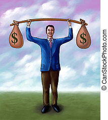 Money lifting - Businessman lifting two money bags. Mixed...