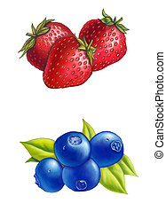 Berries - Strawberries and blueberries on white background....