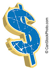 Dollar Sign - A large dollar sign in marble stone