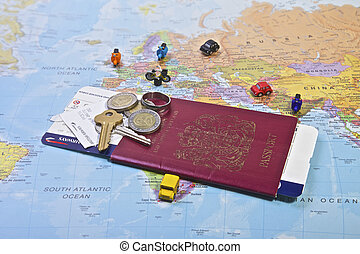 Passport, Travel - British Passport flight ticket and...