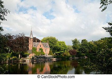 castle in Bruges Belgium - Castle at the Minnewater in...