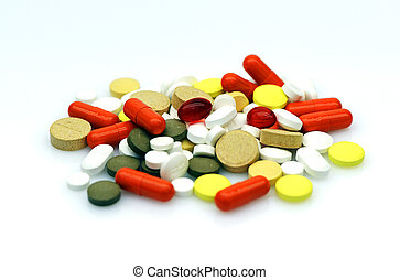medical supplies - A variety of drugs on white background