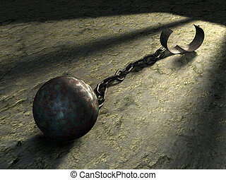 Steel ball and chain in a prison cell Digital illustration
