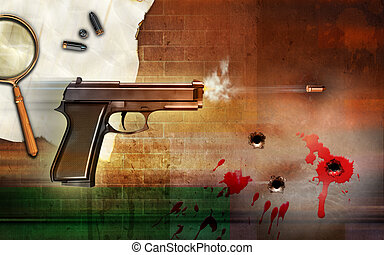 Criminality themed composition, showing a firing gun and...