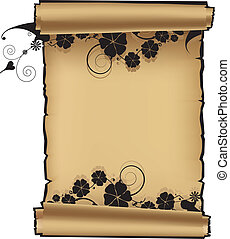 Scroll with flowers on white background