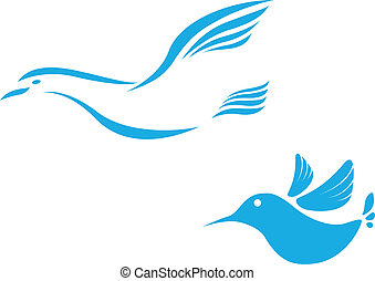 Flying bird abstract icon - Vector Illustration of Flying...