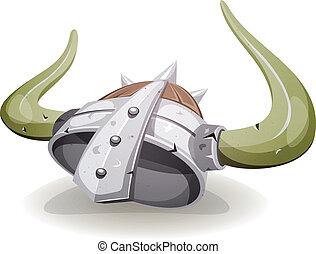 viking, casque, comique