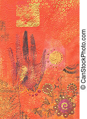 hand painting - acrylic painting ethnic style, artwork is...
