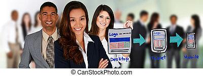 Web Designer - Team of people making a website together