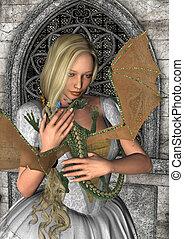 Princess and Dragon - 3D digital render of a beautiful fairy...