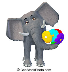 3d cartoon elephant with flowers