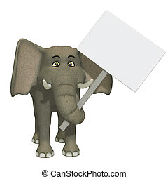 cartoon 3d elephant wizh a blank sign