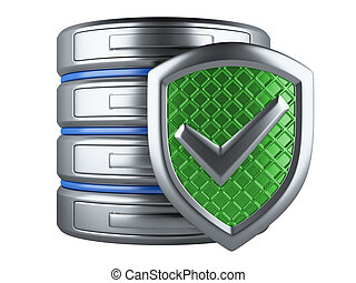 Data security concept. Database and shield isolated on a...
