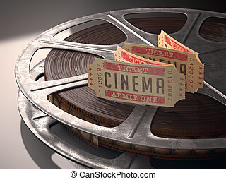 Cinema Ticket - Cinema ticket over rolls of film Concept of...