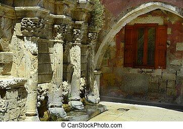 Greece, Crete, Raimondi fountain in Rethymno