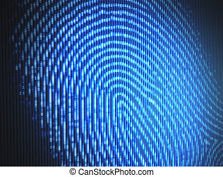 Fingerprint on a led screen Concept of technology