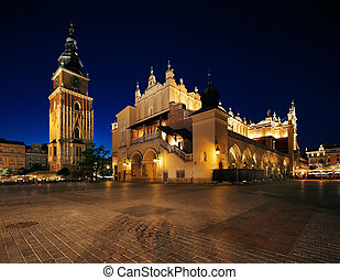 The Market Square in Krakow, Poland - Market Square in...