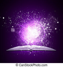 Old open book with magic light and falling stars. Dark...