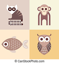 Animal vector icons - Monkey, Lemur, Fish and Owl - four...