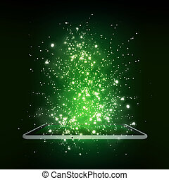 Old open book with magic light and falling stars - Tablet pc...