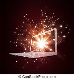 Open laptop with magic light and falling stars Dark...