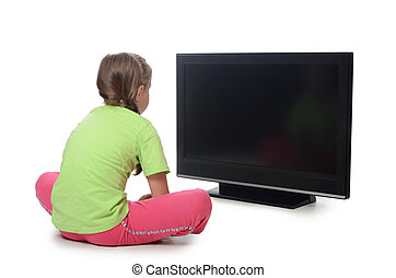 a, pequeno, menina, olha, LSD, tv