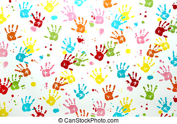 Colorful children hand print on a wall