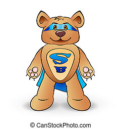 Super bear dressed in a blue cloak with the letters S and B...