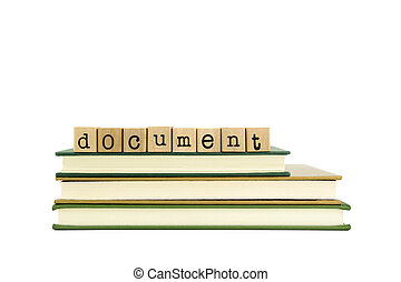 document word on wood stamps and books