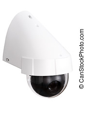 Day and Night Color IP surveillance camera isolated on white...