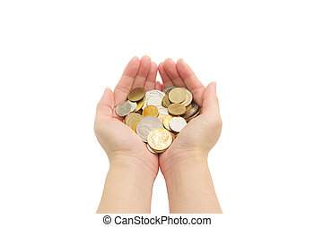 isolated of womans hands holding coins - closeup womans...