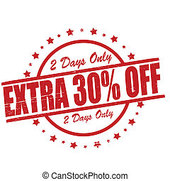 Extra thirty percent off - Stamp with text extra thirty...