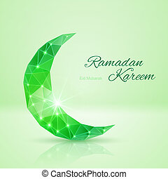 Greeting card of holy Muslim month Ramadan - Ornate crescent...