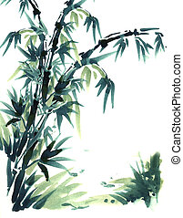 Chinese brush painting bamboo.